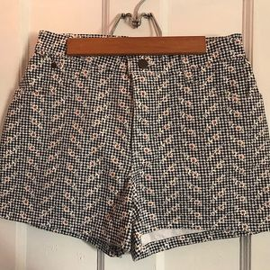 black and white high waisted floral shorts
